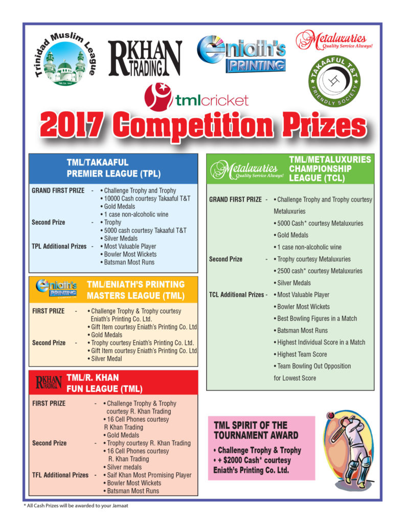 TML Cricket 2017-Competition Prizes