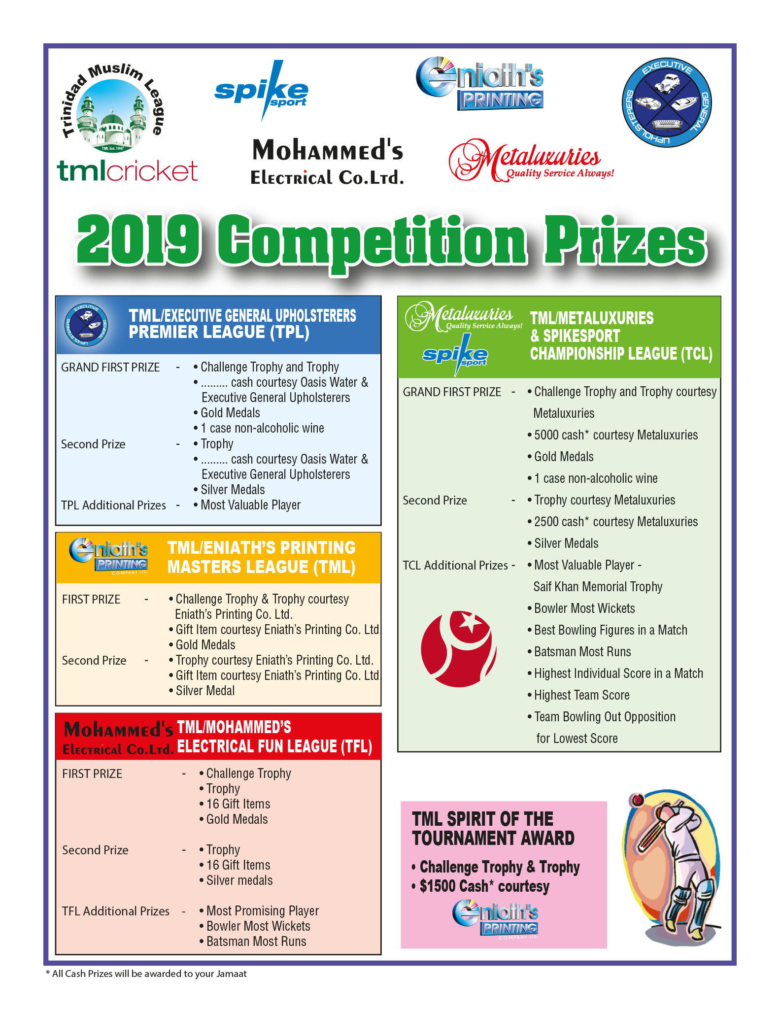 TML Cricket 2019 Competition Prizes
